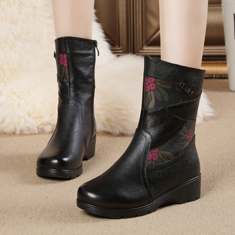 High Quality Women Genuine Leather Shoes Casual Ladies Martin Boots Winter Warm Flat Women s Boots