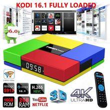 El envío gratuito! t95kpro 2g + 16g s912 smart 1000 m android 6.0 iptv árabe caja octa core kodi 16.1 hevc 4 k reproductor multimedia