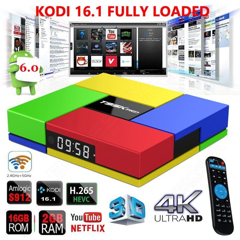 Prix pour Livraison gratuite! T95KPRO 2G + 16G S912 Smart 1000 M Android 6.0 iptv BOÎTE Octa Core HEVC 4 K Médias lecteur