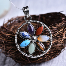 1PC fashion colorful natural crystal rock agate round pendant composed of seven different gems! For jewelrty wear DIY gifts