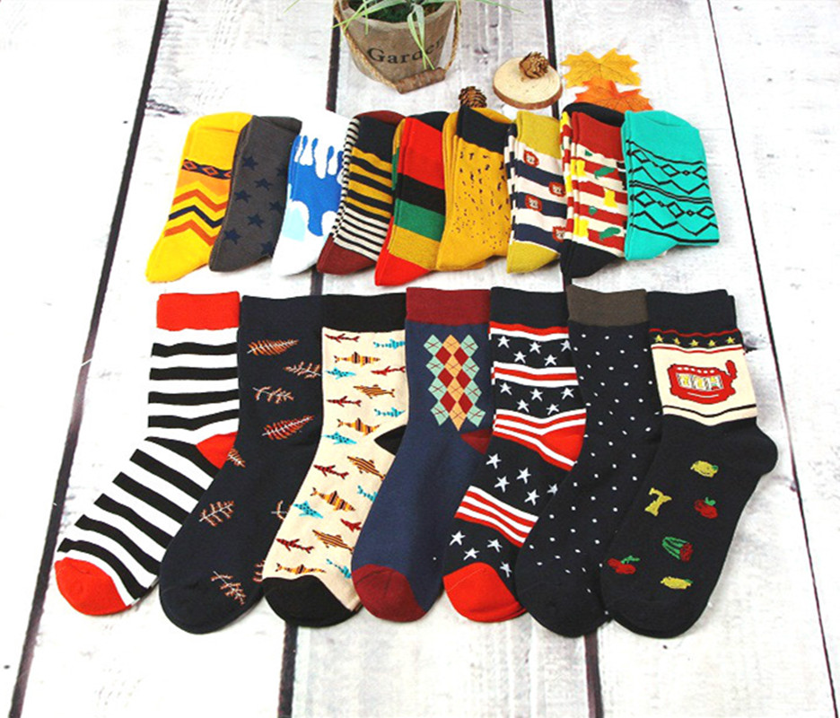 Colorful Casual Mens Happy Socks High Quality Combed Cotton Men Socks Cartoon Designs Funny Crew compression socks Free Shipping