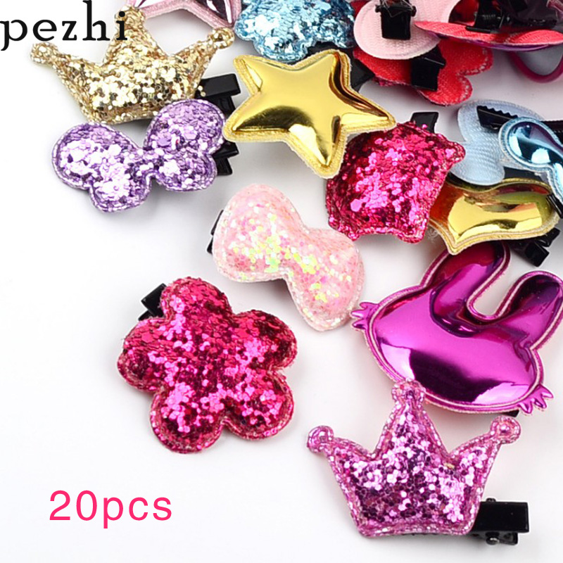20pcs Set New Children's Hairpin Heart-shaped Cartoon Bangs Hairpin  Cute Girl Side Clip Headwear