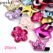 20pcs set New childrens hairpin heart-shaped cartoon bangs  cute girl side clip headwear