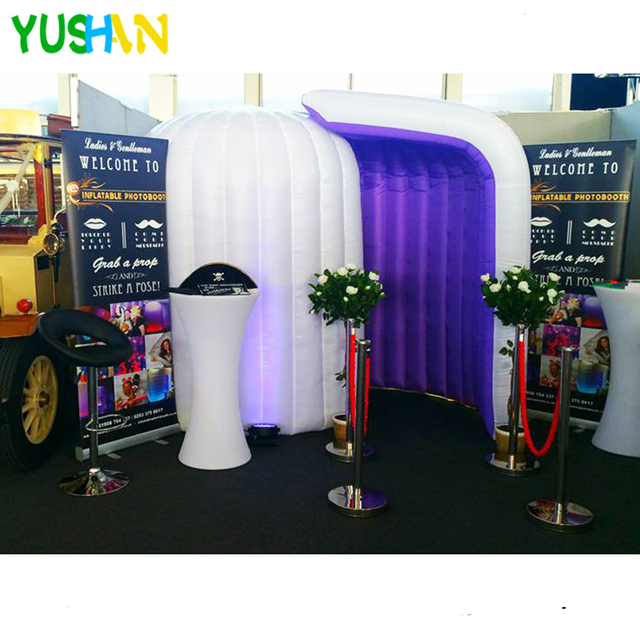 White&Purple inflatable Dome photo booth with LED Strip Bottom and Inner Air Blower Dome Photo booth Tent for Party Decorations