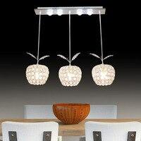 Modern Minimalist Fruit Crystal Pendant Lamp E14 Led Modern Lighting 3 Heads Living Room Dining Bedroom Crystal Pendant Light