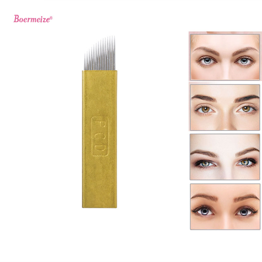 500 1000 pcs PCD Permanent Makeup Eyebrow Tatoo Blade Microblading Needles For 3D Embroidery Manual Tattoo