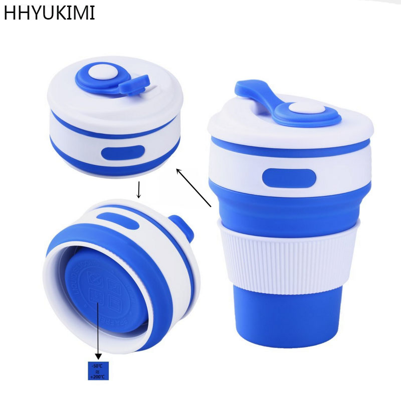 HHYUKIMI Coffee Cups Travel Collapsible Silicone Portable Tea Cup for Outdoors Camping Hiking Picnic Folding Office Water Cups