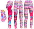 2017 Nova 5-10 Anos Trolls Dos Desenhos Animados Meninas Leggings Crianças Calças Média Calças de Algodão Menina Roupas Crianças Longo VERMELHO calças T014