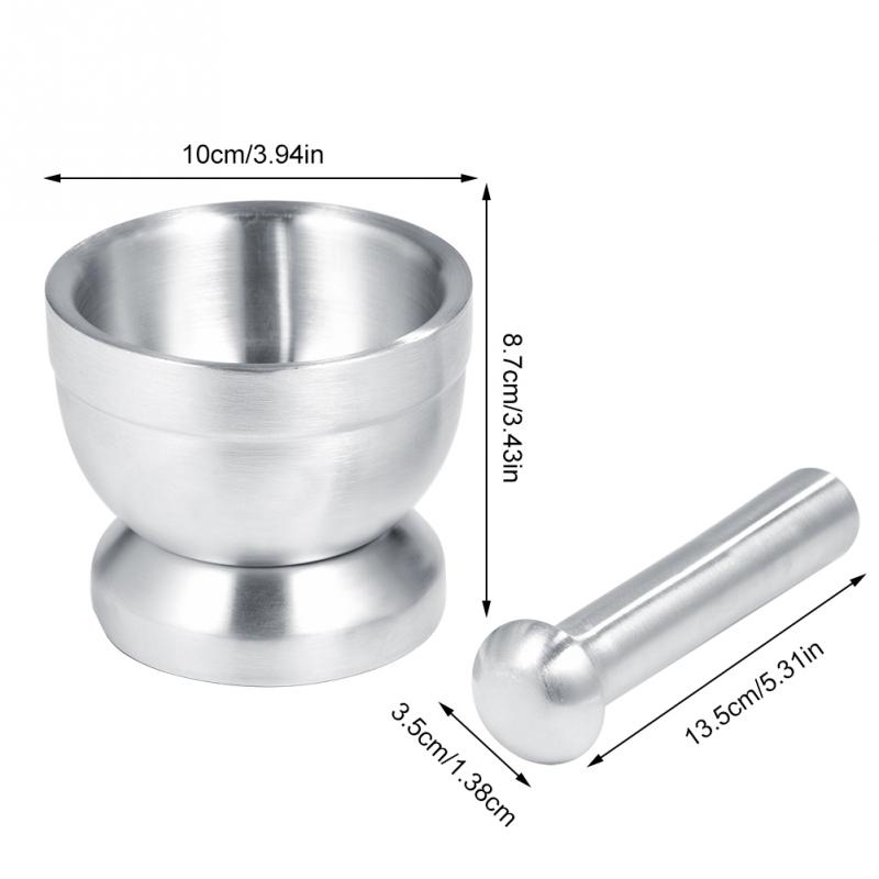 Image 2 - Stainless Steel Mortar Pestle Set Pugging Pot Garlic Spice Grinder Pharmacy Herbs Bowl Mill Grinder Crusher Kitchen Tool Gadget-in Mills from Home & Garden