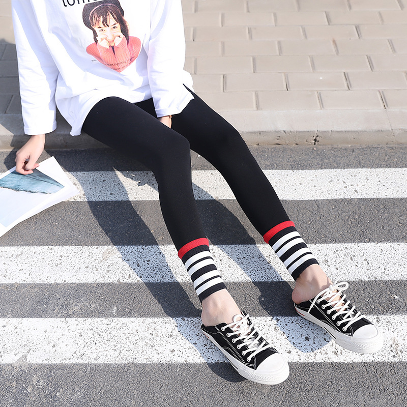 New Streetwear Bf Style High Waist Pencil Pant Cotton Blended Slim Fit Patchwork Stripe Pant Spring Autumn New Skinny Leggings