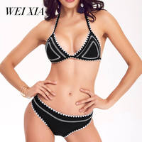 WEIXIA 2018 Black White Swimsuit Push Up Women SJ 1602 Low Waist And Low Waist Bikini