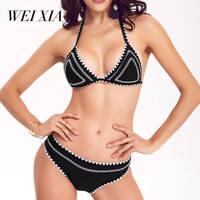 WEIXIA 2018 Black White Swimsuit Push Up Women SJ 1602 Low Waist And Low Waist Bikini