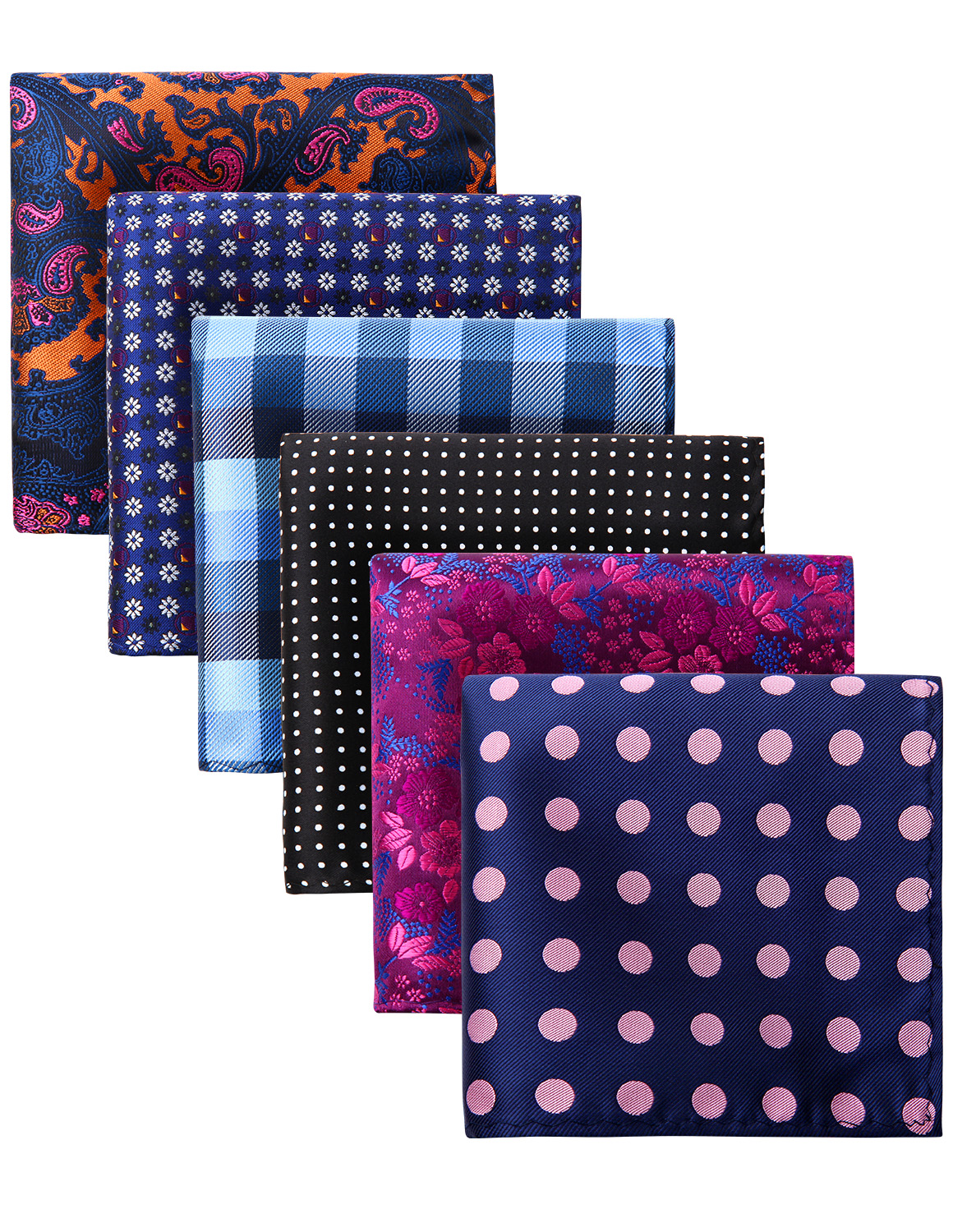 Men Fashion Pocket Square Paisley Plaid Floral 6 Pcs 25 X 25 Cm Handkerchief Wedding Party Pocket Square Gift Box Set