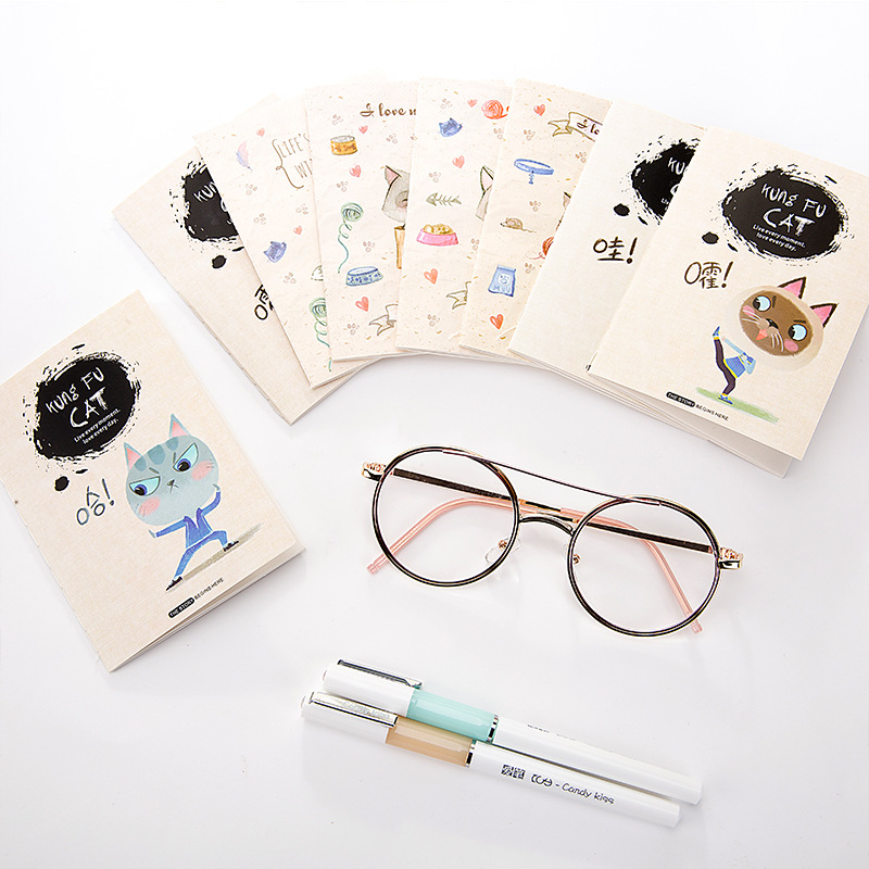 1pc Kawaii Cat Print Cover Color Page Mini Notebook Diary Notepad Travel Book Office And School Supplies In Notebooks From On
