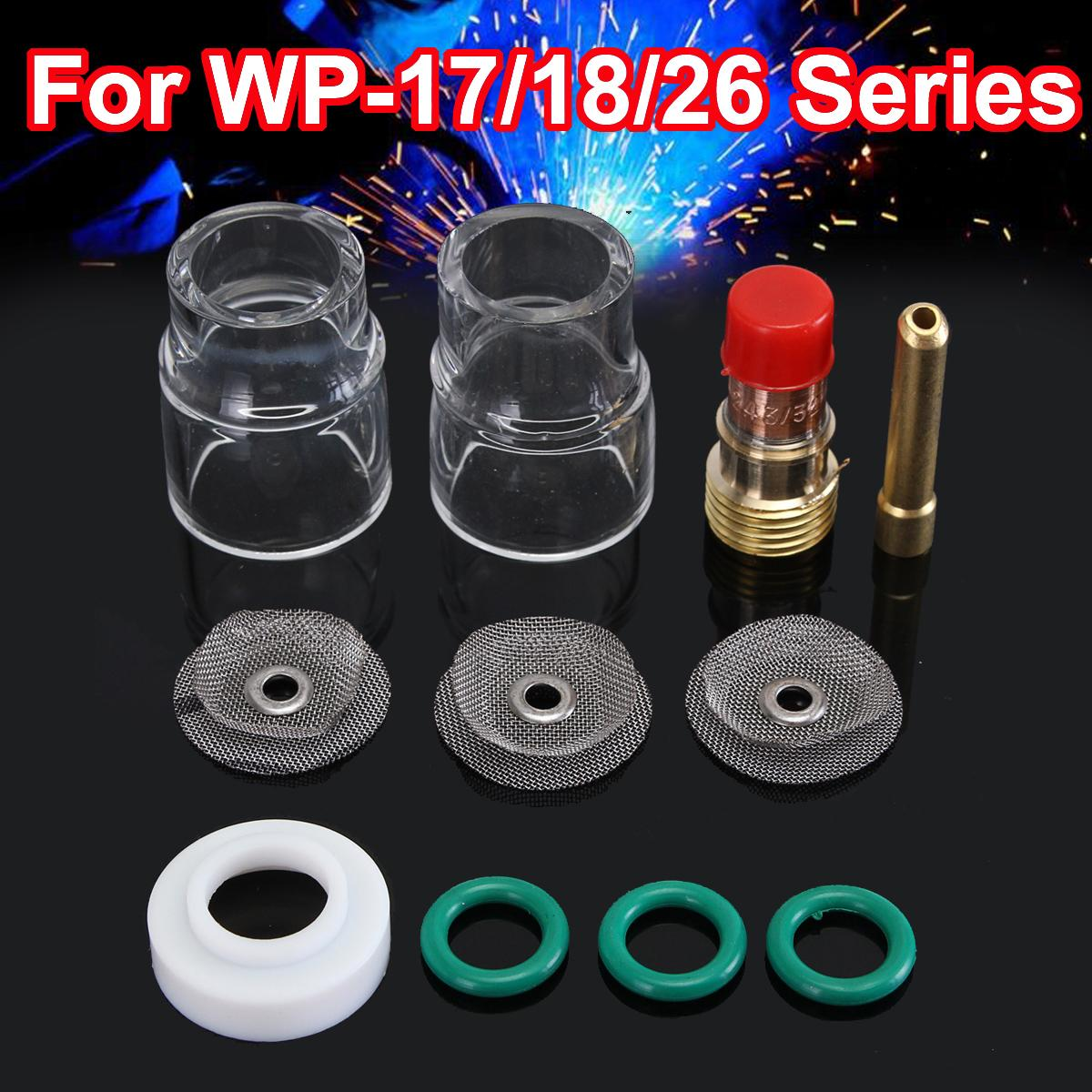 11pcs TIG Welding Torch Stubby Gas Lens Pyrex Cup Accessories Kit Tools For WP-17/18/26 Torches Gas Lens 3/32 Welding Working 18 pk tig torch large gas lens wp 9 20 25 wp tungsten 0 04 1 16 3 32