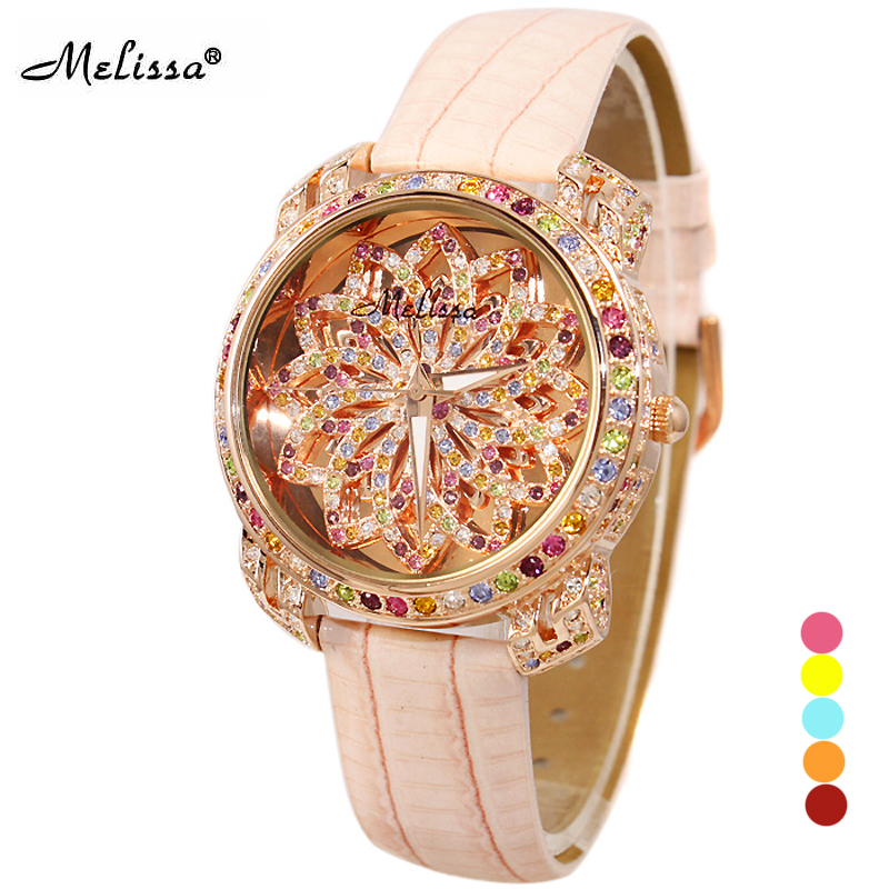 Lady Women's Watch Hours Japan Quartz Fashion Leather Bracelet Luxury Candy Crystal Christmas Girl Birthday Gift Melissa fashion modern silver crystal flower quartz pocket watch necklace pendant women lady girl birthday gift relogio de bolso antigo