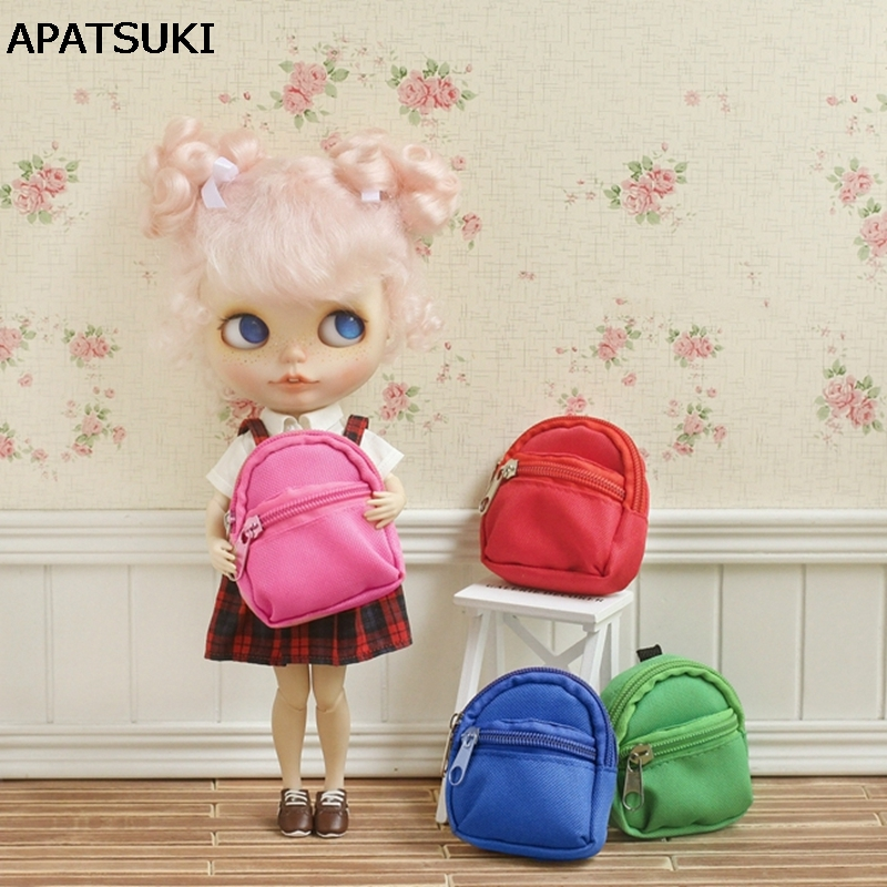 Pure Color Fashion 1:6 Dolls Bag Backpack For Blythe Doll Knapsack Packsack For Barbie Dollhouse 1/6 mini Doll Accessories 1pc long sleeve shirt for blythe dolls base shirt clothes for barbie blouse momoko doll clothes 1 6 doll accessories