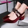 Vallkin 2017 plaza de tacón alto mujer bomba de punta estrecha cordón hasta Otoño del Resorte de Las Mujeres Zapatos de Fiesta/Tamaño de Los Zapatos de Baile de la boda 34-43