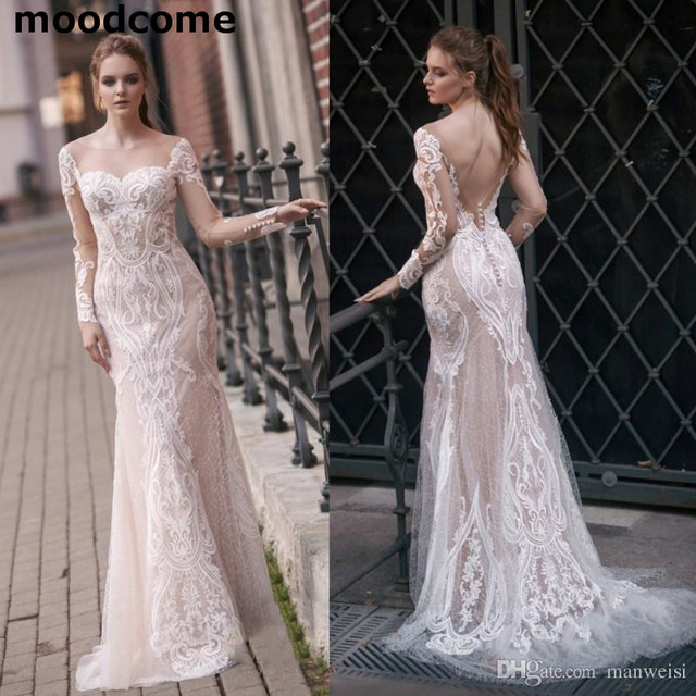 Bridal Gowns 2018 Country Backless Wedding Dress Long Sleeves Lace