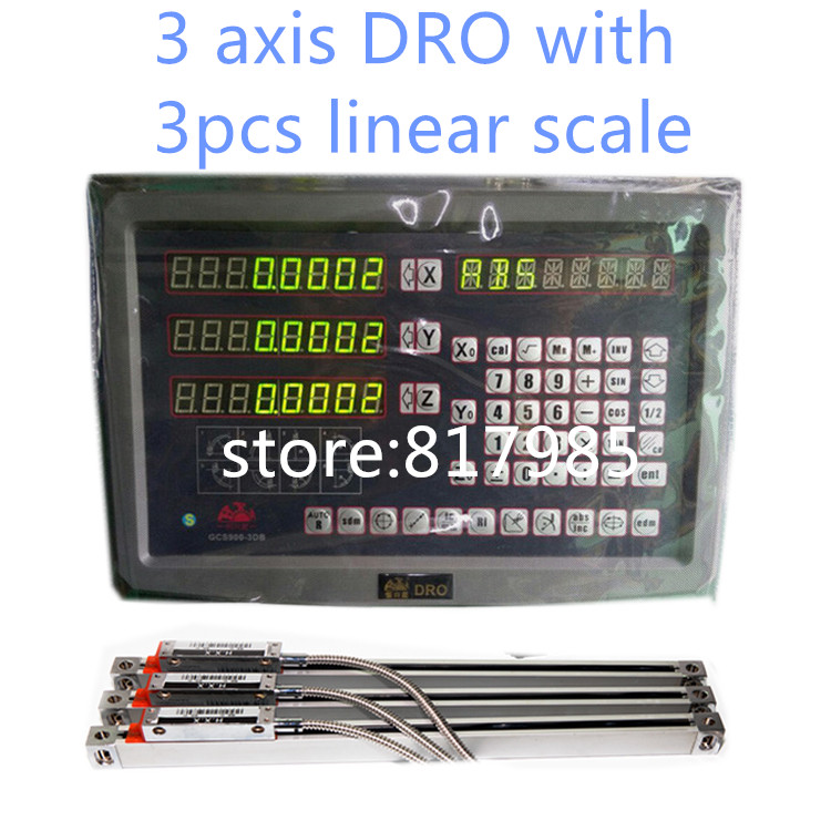 DRO Digital Readout with 3 linear scale travel 150-1020mm milling lathe machine 3 axis DRO display complete unit цена