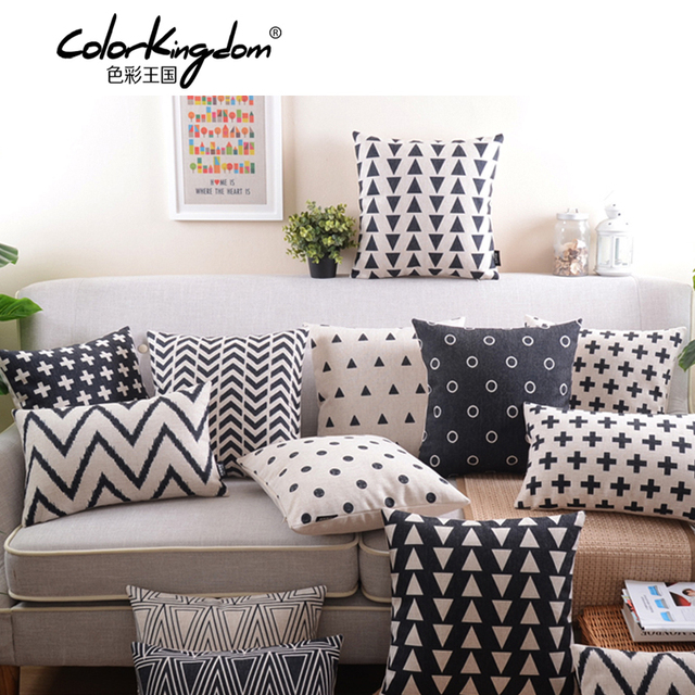 3c107bbb57e5a Retro Decorative Pillow black and white geometric Home Decoration Pillow  creative abstraction Decorative Throw Pillows