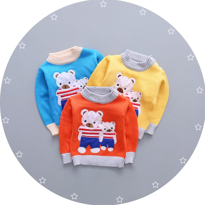 BibiCola 2017 baby girls boys autumn wear warm cartoon sweaters underwear children pullovers outerwear Bear sweaters for Newborn