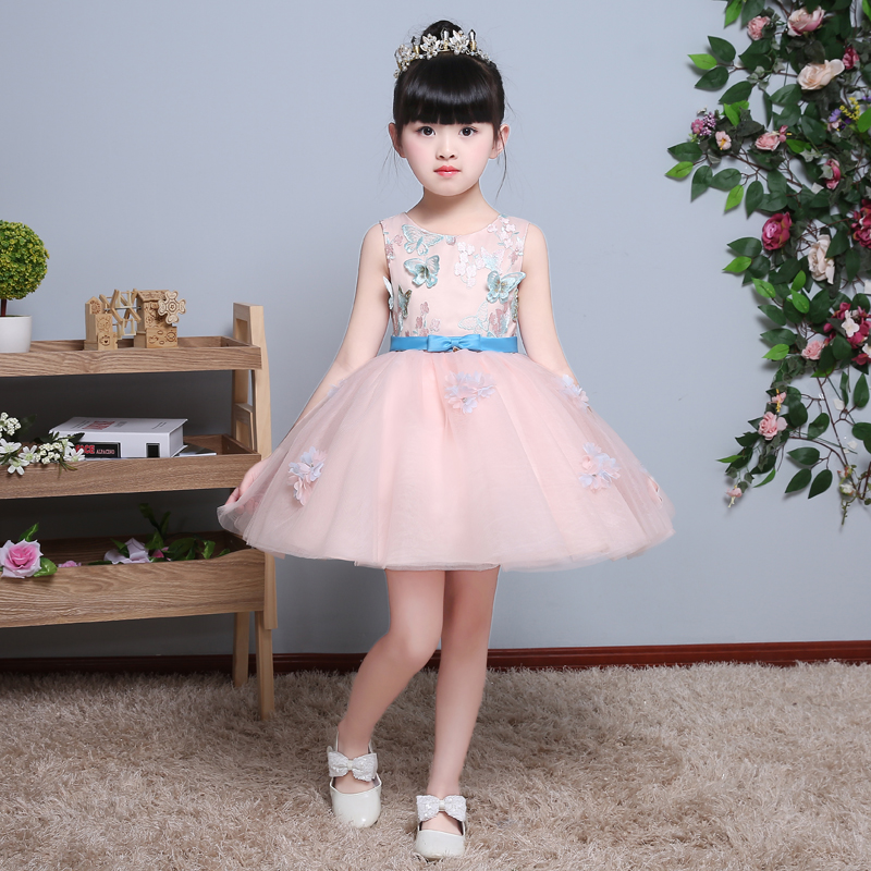 Elegant Girl Princess Dress Girls 2017 New Summer Fashion Pink Lace Party Flower Design Princess Wedding Dresses Baby Girl dress h16 2013 hot baby summer new design stylish and elegant multi layered lace roses very beautiful girl in evening dress