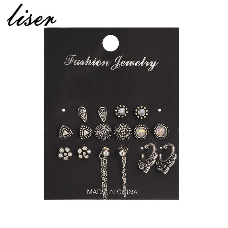 Bohemian 8 Pieces / Set Women's Ancient Silver Chain Earrings Simple Earrings Combination Cherry Love Perforated Earrings Set