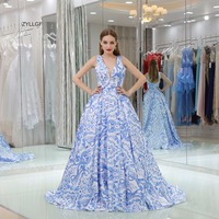 ZYLLGF Evening Dresses China Ball Gown V Neck Sweep Train Floral Print Evening Party Dress Formal Evening Gown Dress SL60