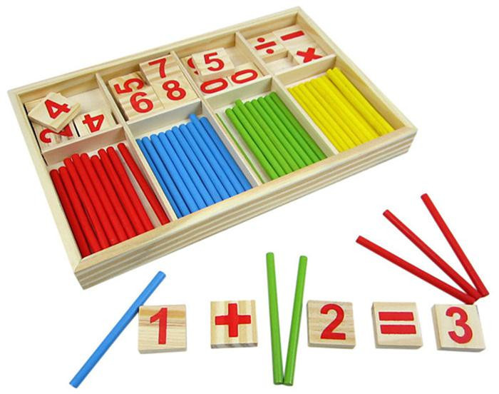 Wood Number Mathematics Early Learning Counting Math Kids Educational Gamer Toys