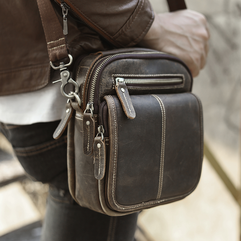 Quality Leather Male Multifunction Fashion Messenger Bag Casual Design Crossbody One Shoulder Bag Satchel Tote School Bag 8025-d