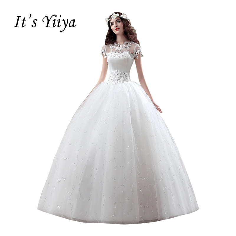 Gratis pengiriman YiiYa 2016 baru murah putih wedding gowns rok sex wedding dress putri pernikahan Bola Cosplay Novia XXN119