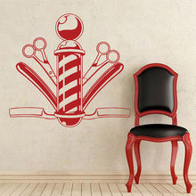 Hairdresser Barber Shop Window Sticker Comb Scissor Vinyl Wall Decal Hair Cut Salon Design Babershop Stickers Mural AZ049
