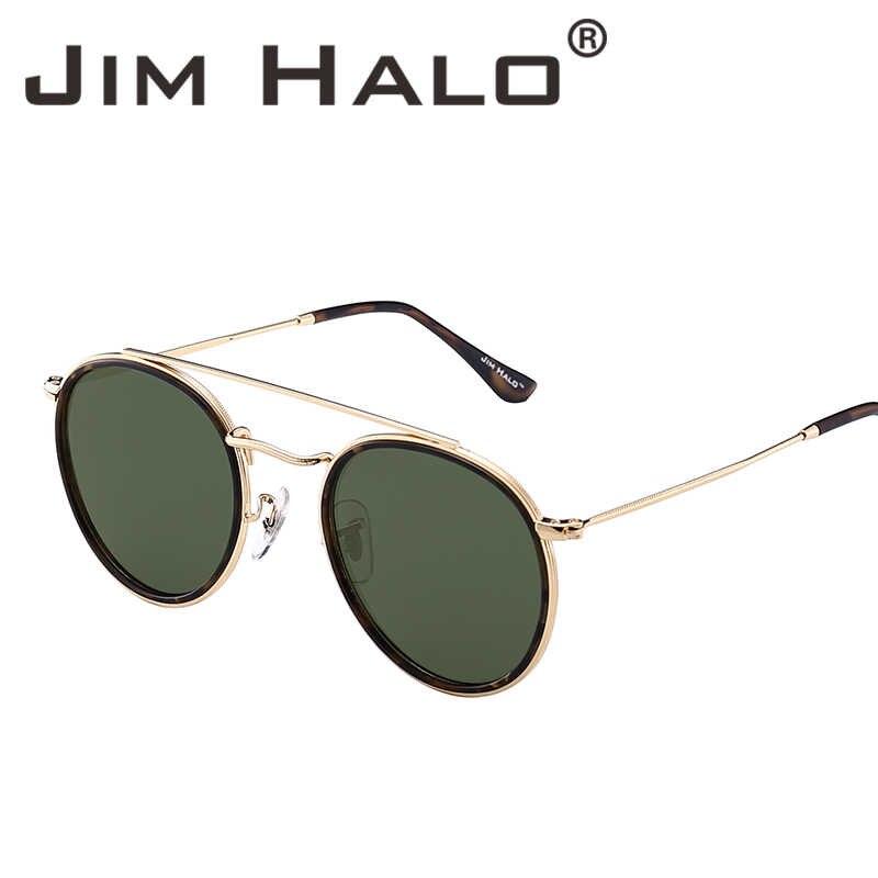 9ea85195b1 Jim Halo Round Polarized Sunglasses Metal Frame Mirrored Flat Circle Lens  Men Women Retro Vintage Oculos