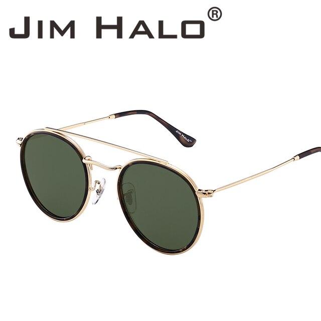 Jim Halo ronda polarizada gafas de sol marco de Metal espejo círculo ...
