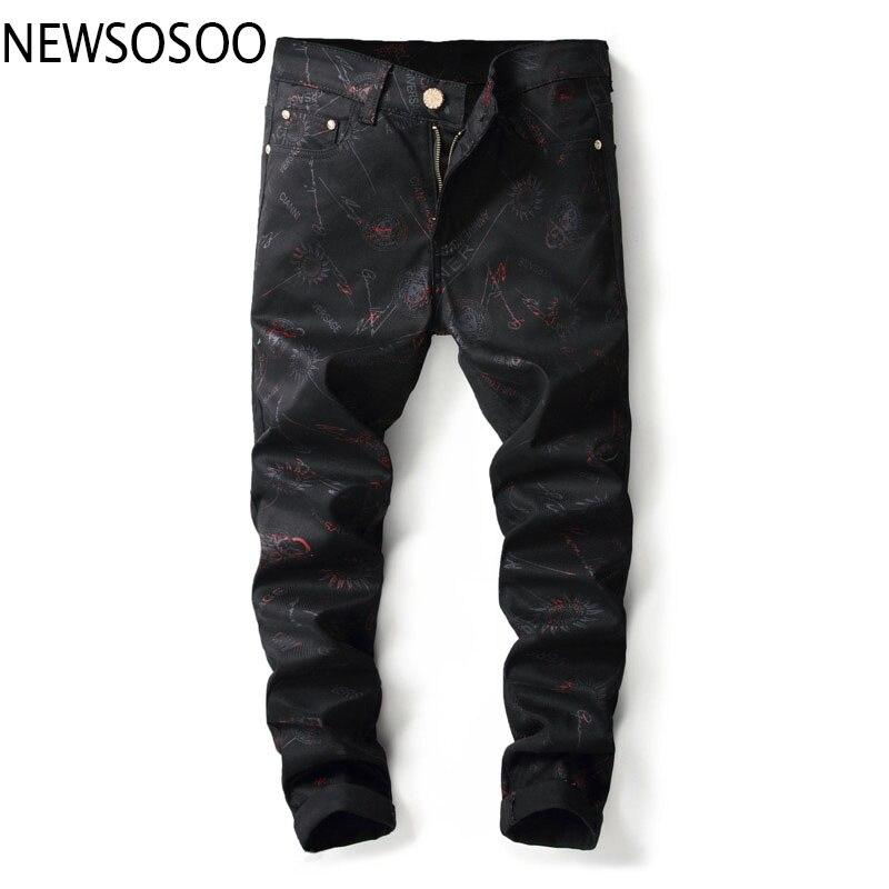 European American Style fashion brand designer men jeans luxury Mens casual denim trousers black Slim Straight jeans for men