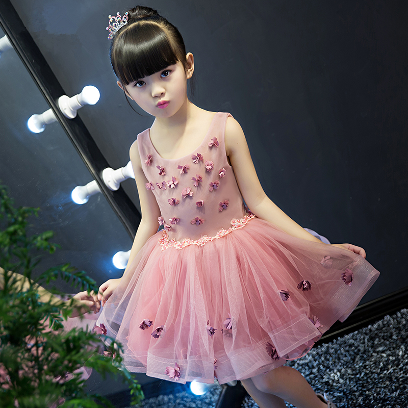 Grano lindo Appliques Rosa Encaje Niñas boda vestido de fiesta ...