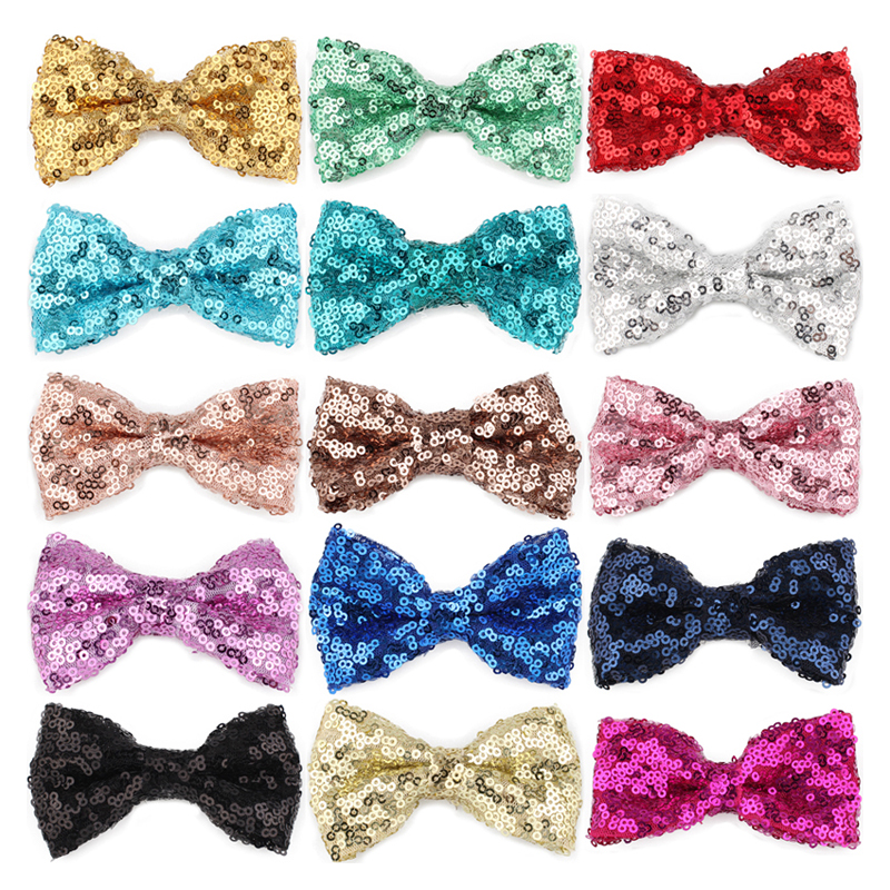 120pcs lot 15colors 9cm Newborn Sequins Kids Bows Hair Clips Solid Flower Bowknot with Paillettes for