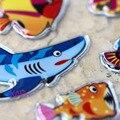 Высокое Качество Скрапбукинг Kawaii Emoji Награда Kid Дети Океан Животные Китовая Акула Дельфин Блестящий Блеск Пузырь Пухлые Наклейки