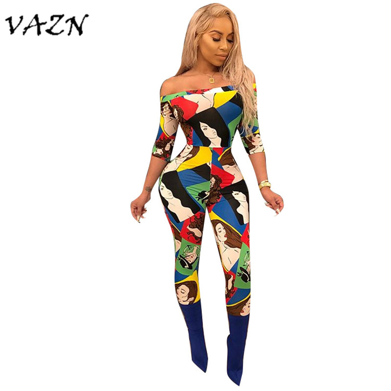 VAZN Top Quality High Design 2018 Sexy Women   Jumpsuit   Print Slash Neck Half Sleeve Night Club Bodycon Romper F8090