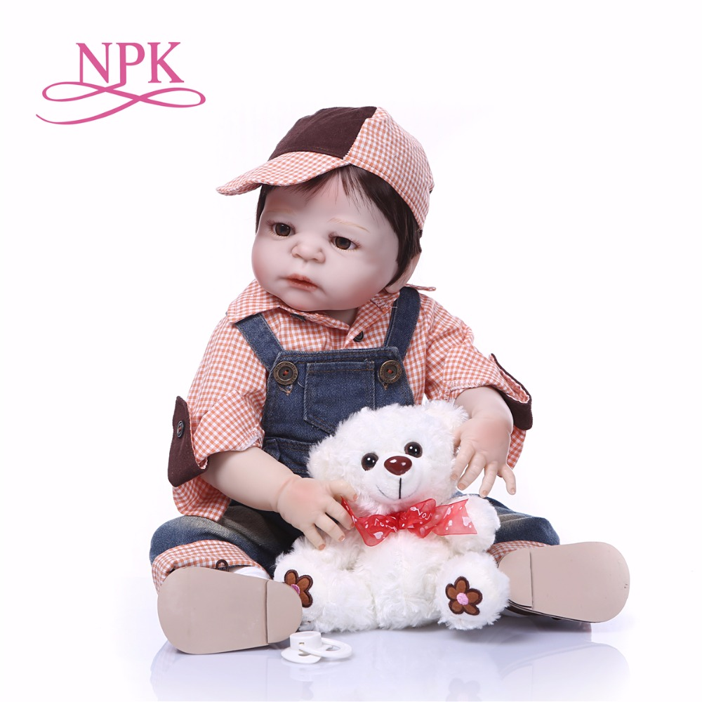 Bebes reborn menino 23 57cm NPK full silicone reborn baby boy dolls toys for child gift