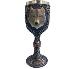 Personalized 3D Animal Wolf Head Mugs Resin Stainless Steel Double Layer Tankard Travel Tea Beer Coffee Cup Helloween Gift Cup