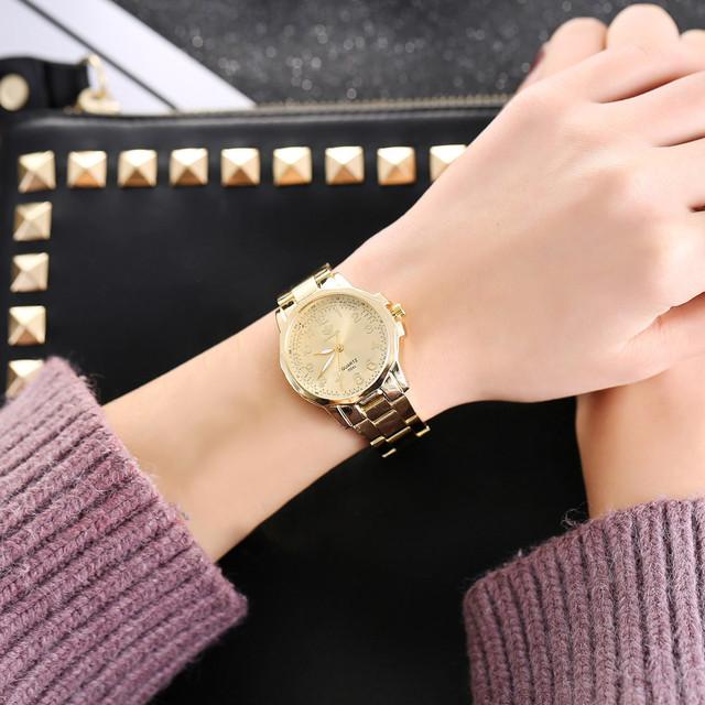 Fashion 2018 Women Fashion Stainless Steel Band Analog Quartz Round Wrist Watch Watches Wristwatch Clock Gift Valentine Gift #20