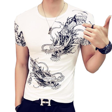 Summer men Tees Tops Fashion China Style dragon Set auger printed t shirt men O neck cotton short sleeve t-shirt Plus size L485