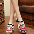 2016 new Thailand Style Embroidery shoes floral cloth linen canvas shoes old Beijing Boho Cotton Round Toe flat shoes size 35-40