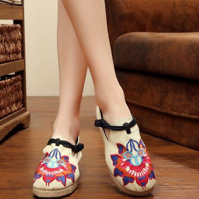 2016 nueva Tailandia Bordado Del Estilo zapatos de tela de flores lienzo de lino zapatos viejos Beijing Boho Algodón Punta Redonda zapatos planos de tamaño 35-40