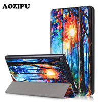 AOZIPU Fashion Case For Amazon Kindle New Fire HD8 2017 Version Solid PU Leather Trifold Smart