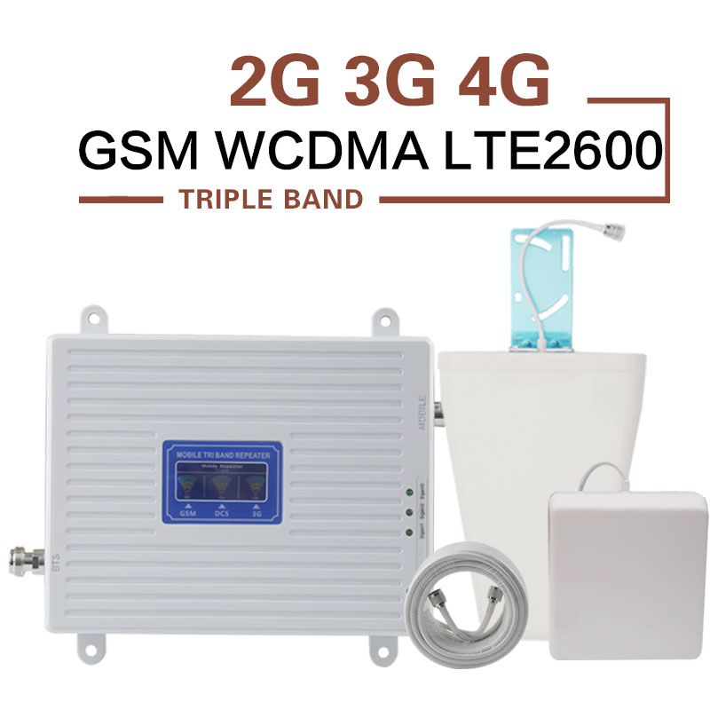 GSM WCDMA LTE Signal Amplifier 70dB 2G 3G 4G 900 2100 2600 Tri-Band Signal Repeater GSM 3G 4G LTE Mobile Phone Cellular BoosterGSM WCDMA LTE Signal Amplifier 70dB 2G 3G 4G 900 2100 2600 Tri-Band Signal Repeater GSM 3G 4G LTE Mobile Phone Cellular Booster