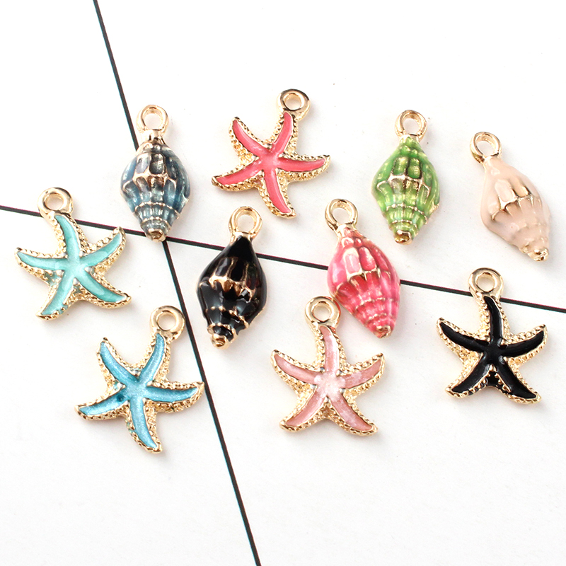 20PCS Coloful Nautical Ocean starfish Shell Conch Sea Enamel Charms DIY Bracelet Necklace Jewelry Accessory