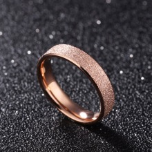 4mm Frosted and Gloss Plain Rose Gold Color Engagement Rings in Stainless Steel Free Laser Engraving